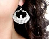 Extra Large Silver Hoop Earrings, Silver Bohemian Jewelry, Art Deco Silver Earrings, Dangling Silver Hoop Earrings, Silver Moroccan Earrings