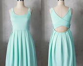 DERICA MINT - Jumper dress with pockets // crochet // stretch ponte // mint green // cut out // bridesmaid // pleated skirt // day