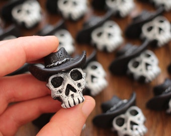 Cowboy Skull Magnet - Texan Gothic Handmade Collectible - FREE SHIPPING
