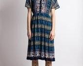 Japanese Vintage Dress // 70s Dress// Egyptian Circus Dress// Japan Size Small