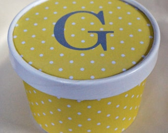 72 Color Choices - Monogram Polka Dot Ice Cream, Soup, Favor Cup with Lids - Set of 12