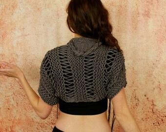 Xena - Sexy Fawn Beige Open Knit Three Quarter Sleeve Custom Sweater Shrug