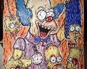 Krusty the Clown Bathsalts trip Simpsons print 11x14