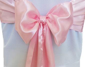 100 Light Pink Satin Chair Sashes