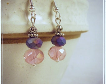 CLEARANCE Purple and pink silver dangle earrings elegant wedding special occasion