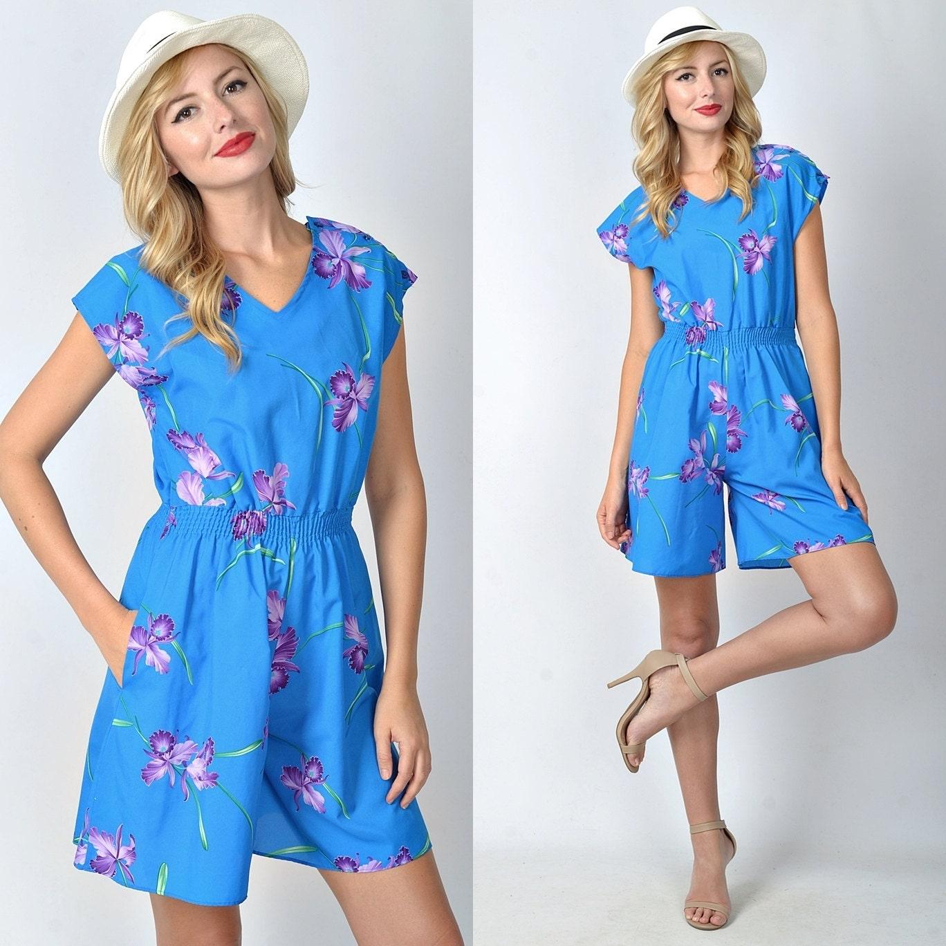 Vintage 80s Blue Retro Romper Dress Mini Shorts Slouchy Draped