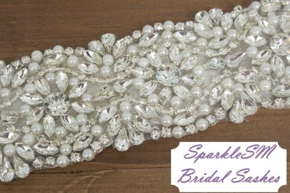 Pearl Bridal Sash, Bridal Belt, Bridal Sash, Wedding Dress Sash, Beaded Bridal Belt, Swarovski Sash, Jeweled Bridal Belt, Crystal Sash