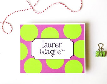Personalized Stationary Pink and Green Polka Dot Thank You Note Cards Bridesmaids Gift Custom Stationery Kids Stationary Bright / Set of 10