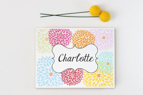Custom Stationery Personalized Stationary Dahlia Note Cards Colorful Floral Stationery Bridesmaid Gift Thank You Notes Hostess / Set of 10