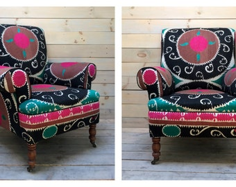 Pink Black and Aqua Vintage Suzani Upholstered Arm Chair