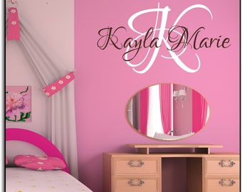 """Personalized Name and Initial Vinyl Wall Art  Monogram 60+ color choices 36""""w x 23""""h- Vinyl Wall Art-vinyl decal"""