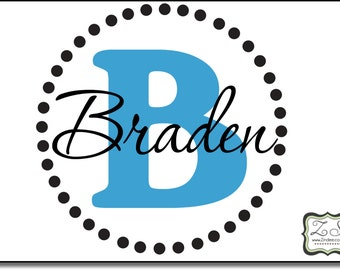 """Personalized Name and Initial Vinyl Decal with Dot Border 23""""w x 23""""h- for walls, tile, doors, windows, mirrors, crafts, and more ZS001"""