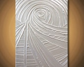 Pearl White Painting Abstract Acrylic Sculptural Very Light Silver Protecting Platinum 24x18 High Quality Original Fine Art
