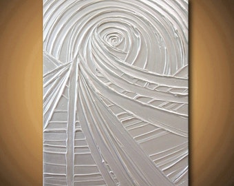HUGE 40% SALE Painting Pearl White Abstract Acrylic Sculpture Very Light Silver Platinum Vortex of Creation 24x18 High Quality Original Art