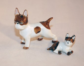 SALE  Pair of Boston or French Bull Dogs Brown and White Bone China Vintage