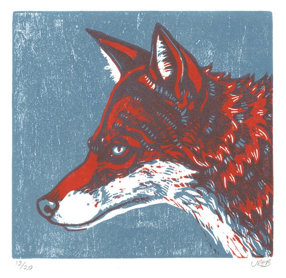 Fox Orginal Woodcut Print