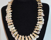SALE Creamy Spiral Conch Shell Necklace. White, Butterscocth, to Dark Brown.  Wear Spirals up or Down.  Only19.90