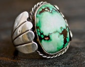 Vintage 70s Green Turquoise Sterling Silver Mens Ring