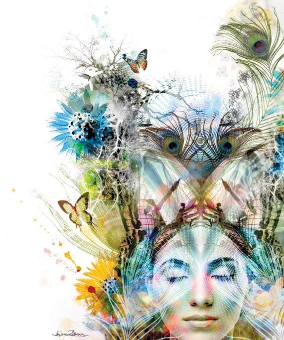 "81.5 x 76cm Canvas Art Print - ""Transcendence"" - Modern Abstract Organic Botanical Fantasy Artwork"