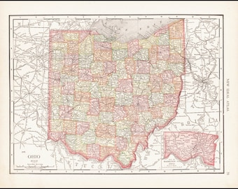 Ohio, Map of Ohio Counties, 1911 Antique & Colorful Illustrated 11x14 State Map Wall Art (Reverse Side: Full-Page Indiana Map) No. 79-80