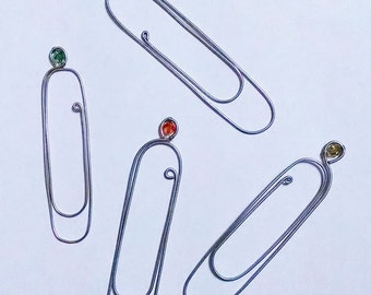Giant Paper Clip Wire Bookmark, Choice of Bead Color