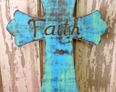 Wood Cross Wall Art Distressed Blue, Brown And Lime Green  *  Faith