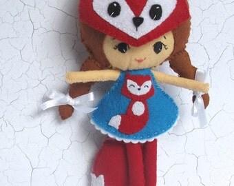 Fox Girl Felt Doll / Felt Toy with fox mask and detachable tail.