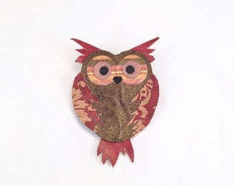 Unique Owl Brooch / Brown and Maroon / Woodland Animal