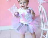 Winter ONEderland Pink Snowflake Winter Themed Birthday Tutu Outfit, Snowflake Princess Tutu Set; Snowflake Birthday Tutu *Bow NOT Included*