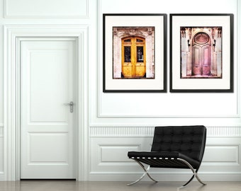Paris Door Photography, Paris Door Art,  Old Paris Doors, Paris Photography Set, Pink Paris, In Stock