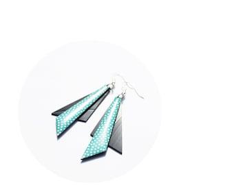 statement earrings geometric dangle earrings teal earrings polka dot earrings long triangle earrings modern jewelry gift idea for her