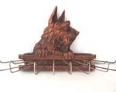 Reserved for j Vintage scarf holder necktie rack terrier leash rack dog novelty cottage decor