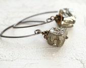Raw Pyrite Earrings - Mixed Metal Earrings - Raw Stone Earrings - Mixed Metal Jewelry -  Modern Edgy Earrings - Minimal Earrings for Women