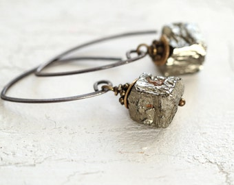 Raw Pyrite Earrings - Mixed Metal Earrings - Raw Stone Earrings - Mixed Metal Jewelry -  Modern Edgy Earrings - Minimal Earrings for Women