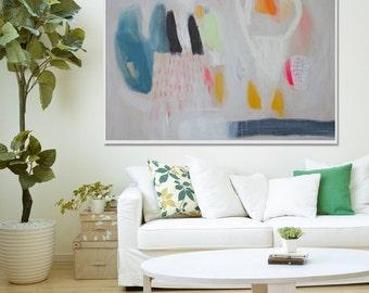 "GICLEE PRINT, white, blue, green, yellow, pink, modern art, expressionist art ""Spring"""