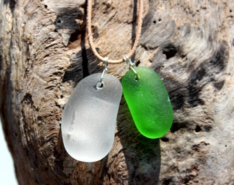 Hawaiian Emerald Green Beach Glass & Clear Beach Glass Wire Wrapped in 925 Sterling Silver on India Leather Necklace