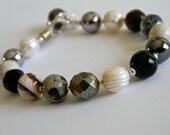 Gemstone Pearls Bracelet, Sterling Silver and Gemstones Bracelet - Pearls, Agates, Sterling Silver Bracelet - Statement Bracelet, Neutral
