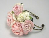Pink and antique white Floral Cuff Bracelet Corsage Flower Prom Vintage Wedding Party Bridal Accessory Bridesmaid statement