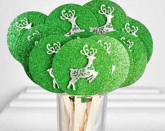 Christmas Party Metallic Silver Reindeer Cupcake Toppers on Green Glitter Paper. Cake Picks, Dessert Table Setting Decoration. Set of 16