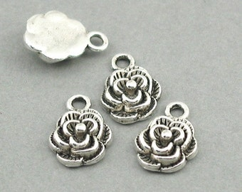 Rose Flower Charms Antique Silver 8pcs base metal beads 10X14mm CM0502S