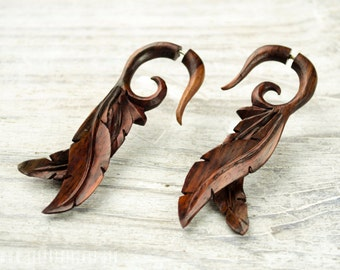 Fake Gauge Earrings Leaves Wooden Tribal Earrings - Gauges Plugs Bone Horn - FG087 W G1