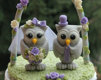 "Wedding owl cake topper with grass base and arch, BIG OWLS more than 4"" tall, bride and groom love birds, purple lilac wedding"