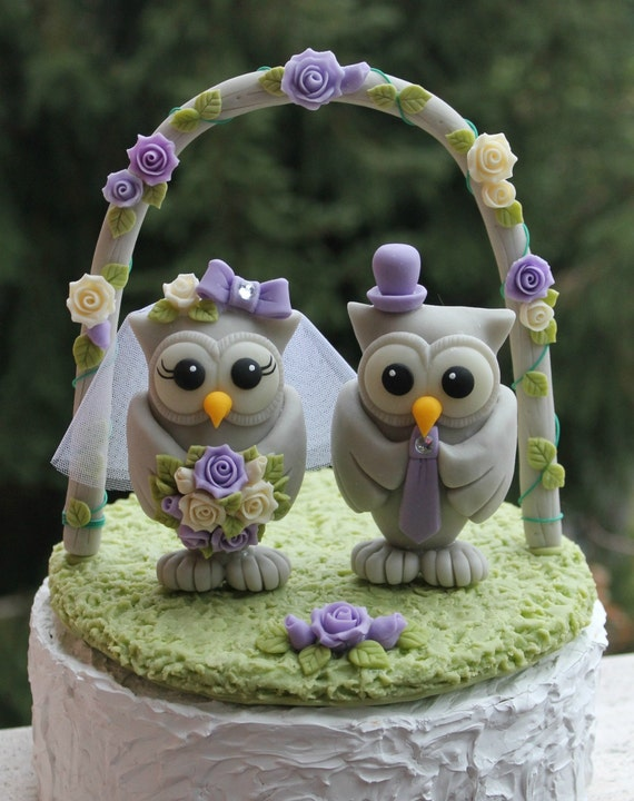 Wedding Owl Cake Topper With Grass Base And Arch BIG OWLS - Owl Wedding Cake
