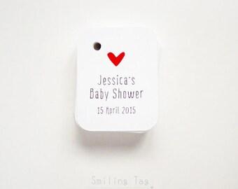 Heart Baby Shower Favor Tags - Wedding Favor Tags - Thank you tags - Bridal Shower Favor Tags - Baby Shower - Set of 40 (Item code: J423)