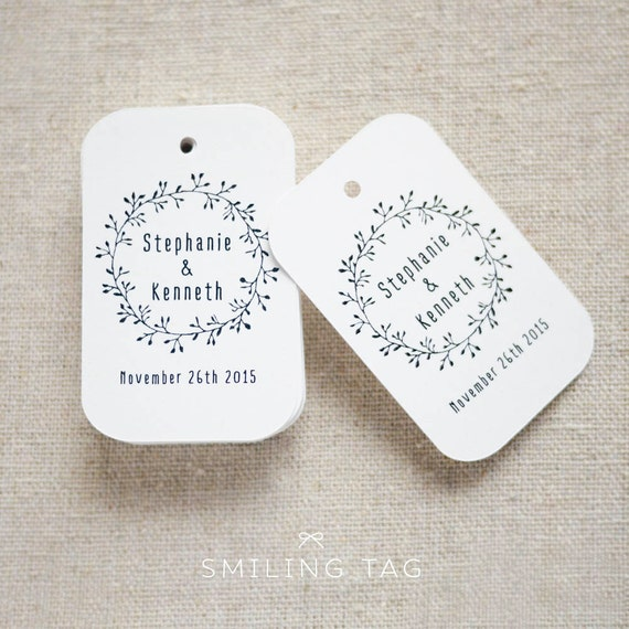 Wedding Favor Bag Tags : Wedding Laurel Wreath Favor Tags - Gift Tags - Favor Bag Tag ...