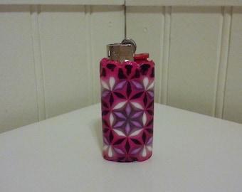 MINI Bic Flower of Life Perler Bead LIGHTER CASE - pink black white - sacred geometry - punk rock - ultraviolet