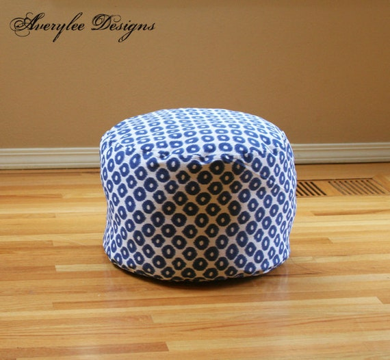 Round Floor Pillow Blue : SHIPS TODAY Filled Round 15 by 10 1/2 high in by AveryleeDesigns