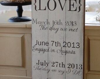 Important dates displayed on distressed barn wood sign. Perfect wedding shower/ wedding gift. Personalized sign