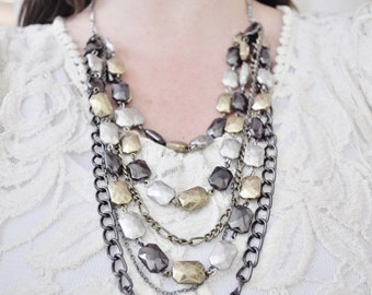 SALE Mixed Chain Necklace Long Chain Textured Statement Necklace Mixed Metals