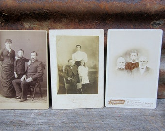 Collection of 3 Antique Photographs Large Cabinet Cards Victorian Pictures Black White Photos